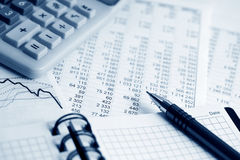 Financial accounting graphs and charts analysis Stock Photography