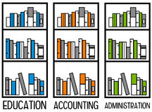 Accounting and administration. Having bookshelves for education, accounting and administration Stock Image