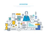 Accounting, analysis, audit. Financial management, market research, working with documentation. Accounting, analysis, audit. Management, market research Royalty Free Stock Image