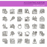 Accounting Auditor Elements. Thin Line and Pixel Perfect Icons Stock Images