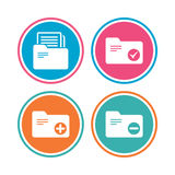 Accounting binders icons. Add document symbol. Accounting binders icons. Add or remove document folder symbol. Bookkeeping management with checkbox. Colored Stock Images