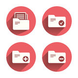 Accounting binders icons. Add document symbol Royalty Free Stock Images