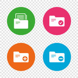 Accounting binders icons. Add document symbol. Stock Photos