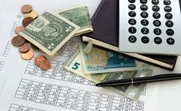 Accounting, business calculations, calculator, counting of funds royalty free stock photo