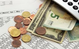 Accounting, business calculations, calculator, counting of funds stock images