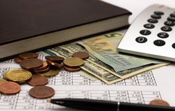 Accounting, business calculations, calculator, counting of funds stock photography