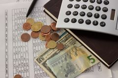 Accounting, business calculations, calculator, counting of funds. Dollars, euros and cents royalty free stock photo