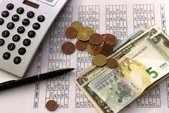 Accounting, business calculations, calculator, counting of funds stock photos
