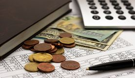 Accounting, business calculations, calculator, counting of funds stock image