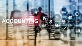 Accounting, Business and finance concept on virtual. Screen stock photography