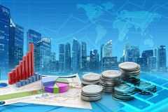 Accounting business in the financial district. Stacks of coins and 3d graphs in a blue cityscape background Stock Photo