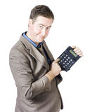 Accounting business man holding calculator Royalty Free Stock Photo
