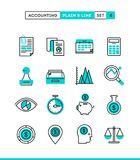 Accounting, business statistics, time and money management and m. Ore. Plain and line icons set, flat design, vector illustration Stock Photography