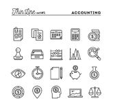 Accounting, business statistics, time, money management and more. Thin line icons set, vector illustration Stock Photo