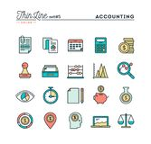 Accounting, business statistics, time, money management and more. Thin line color icons set, vector illustration Stock Images