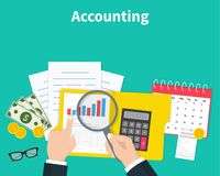 Accounting. Businessman accounting, planning strategy, analysis, marketing research, financial management. Business. Meeting, teamwork, brainstorming. Team of Stock Photo