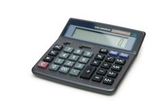 Accounting calculator isolated Stock Images