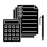 Accounting - calculator, pen, checkbox docs icon, vector illustration, black sign on isolated background. Accounting - calculator, pen, checkbox docs icon Royalty Free Stock Photo