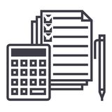 Accounting,calculator, pen, checkbox, docs vector line icon, sign, illustration on background, editable strokes. Accounting,calculator, pen, checkbox, docs Royalty Free Stock Photo