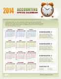 2014 Accounting Calendar with week numbers vector Royalty Free Stock Photo