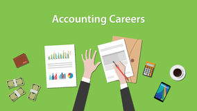Accounting careers illustration with a man writing on paperwork with money, calculator and folder document on top of. Table vector Royalty Free Stock Photography