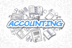 Accounting - Cartoon Blue Word. Business Concept. Business Illustration of Accounting. Doodle Blue Word Hand Drawn Doodle Design Elements. Accounting Concept Stock Image