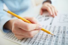 Accounting. Close-up image of a financial worker analyzing statistical data Royalty Free Stock Image