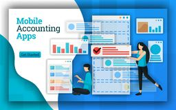 Accounting companies provide Mobile Accounting Apps services for all payroll accounting services. This apps also help in accountin stock illustration