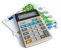 Accounting concept. Office calculator and euro banknotes isolated over white background Royalty Free Stock Images