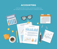 Accounting concept. Financial analysis, planning, statistics, research. Documents, forms, charts, grap Stock Image