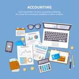 Accounting concept. Financial analysis, tax payment. vector illustration