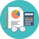Accounting concept. Flat design. Icon in turquoise circle on white background Stock Image