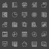 Accounting concept icons. Vector collection of financial management outline signs. Accounting business linear symbols on dark background Stock Image