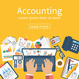Accounting concept. Organization process. Accounting concept. Organization process, analytics, research, planning, report, market analysis. Flat style vector Royalty Free Stock Photo