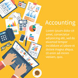 Accounting concept. Organization process. Analytics, research, planning, report, market analysis. Flat style vector. Desk with the documents Royalty Free Stock Images