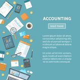 Accounting concept. Tax calculation. Financial analysis, planning, data analysis research. Documents, forms charts. Vector Royalty Free Stock Images
