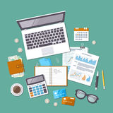 Accounting concept. Tax day. Financial analysis, tax payment. Top view Stock Images