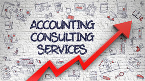 Accounting Consulting Services Drawn on White Brickwall. Stock Photos