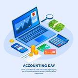 Accounting day concept background, isometric style royalty free illustration