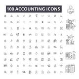 Accounting editable line icons, 100 vector set on white background. Accounting black outline illustrations, signs. Accounting editable line icons, 100 vector set stock illustration
