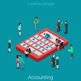 Accounting and finance analytic calculator flat isometric vector. Accounting and finance analytics. Flat 3d isometry isometric business financial bank loan Stock Image