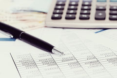 Accounting. Finance. Accounting documents on the table stock photo