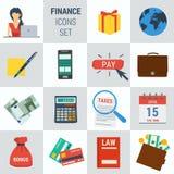 Accounting finance square 15 icons. Vector set 15 accounting finance icons on square form. Female accountant, money calculator, documentation book, calendar Stock Photo