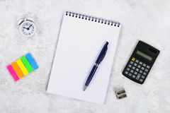 Accounting, financial concept, flat lay or top view of black pen, calculator with white notepad on table with blank copy space, ma. Th, cost, tax or investment stock images
