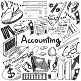 Accounting and financial education handwriting doodle icon of ba Stock Photos