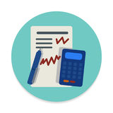 Accounting flat icon. Round colorful button, circular vector sign. Flat style design royalty free illustration