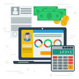 Accounting flat illustration with computer app Royalty Free Stock Photography