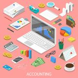 Accounting flat isometric vector concept. Laptop with some charts on its screen surrounded by the accounting attributes Stock Images