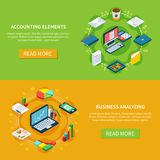 Accounting Horizontal Banners Collection. Accounting isometric set of two horizontal banners with icons of files folders computers and various stuff vector Stock Images