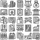 Accounting icon set, outline style royalty free illustration